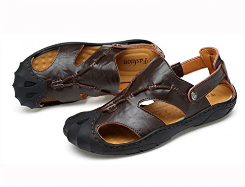 sandali spiaggia da pantofole pescatore Pakamo black Sandali NANXIE in scarpe pelle punta all'aperto vera maschili estive uomo vacchetta chiusa nZCP4