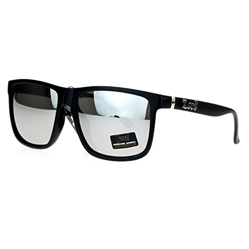 Locs Mirror Lens Gangster Oversized Rectangular horned Sunglasses - Mens Locs