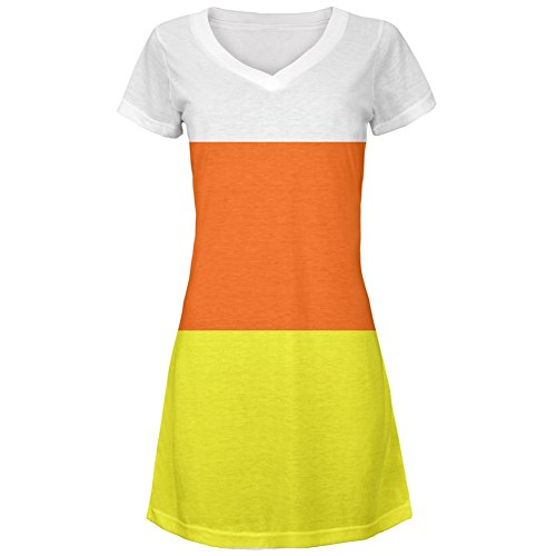 Halloween Candy Corn Costume All Over Juniors Cover-Up Beach Dress - Small ()