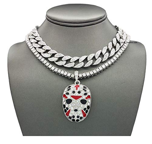 Link Silver Pendant - Shiny Jewelers USA Mens Iced Out Rapper Mask Hip Hop Pendant 1 Row CZ Tennis Miami Cuban Link Chain Necklace (CZ Cuban/1 Row Silver 16