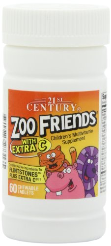 21st Century Zoo Friends with Extra C Chewable Tablets, 60-Count (Pack of 2)