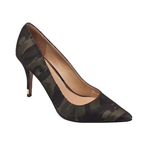Toe High Heel Stiletto Pump Square Topline Metal Heel Tap Camo Net Fabric 9M ()