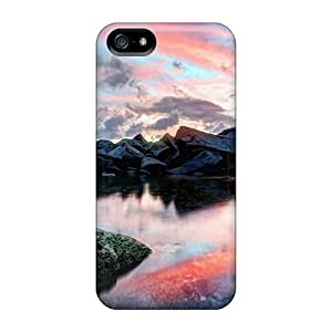 Ultra Slim Fit Hard Williamwtow Case Cover Specially Made For Iphone 5/5s- Wondrous Reflection In Rocky Pond