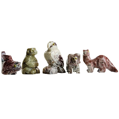 Hypnotic Gems Carvings: 30 pcs Hand Carved Assorted Collectable Soapstone Figurines - Beautiful Unique Stone Carvings for Gifts, Party Favors, Jewelry Making, and More!