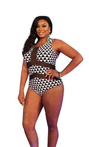 MissFox Mujeres Talla Grande Traje De Baño Triángulo Una Pieza Cabestro Monokini Negro Blanco