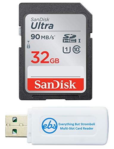 SanDisk 32GB SDHC Ultra Memory Card Works with Panasonic Lumix DC-FZ80, DC-ZS70, DMC-FZ300, DMC-LX10 Digital Camera (SDSDUNR-032G-GN6IN) Plus (1) Everything But Stromboli (TM) SD Card Reader