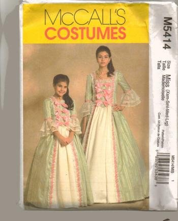 [McCall's Sewing Pattern M5414 Misses' Early America / Colonial Era Gown, Size Xsm-Sml-Med-Lrg] (Colonial America Costumes Revolution)