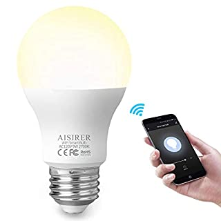 AISIRER Smart Light Bulb WiFi LED Bulbs 9W 806LM Compatible with Amazon Alexa Echo Google Home Assistant and IFTTT E26 Dimmable Warm Light 2700K No Hub Required