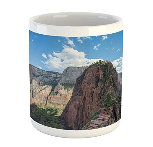 Lunarable Zion National Park Mug, Hiking Adventure Nature Photo of Angels Landing Trail with Sky, Ceramic Coffee Mug Cup for Water Tea Drinks, Multicolor ()