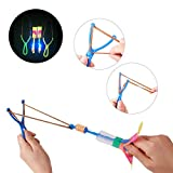 BTToyy 36 Pcs Led Light Arrow Rocket Copters, Amazing Helicopter Flying Toy, Slingshot Arrows, Party Favor For Kids ( Random Color)
