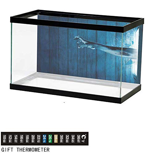 Zombie Rectangle Magnet - bybyhome Fish Tank Backdrop Horror House,Zombie Hand Television,Aquarium Background,36
