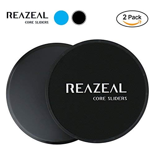 Reazeal Core Exercise Sliders, Dual Sided Gliding Discs Use on Carpet or Hard Floors. Core Sliders for Abdominal Exercise, Full Body Workout At Home, Gym or Travel (Black)
