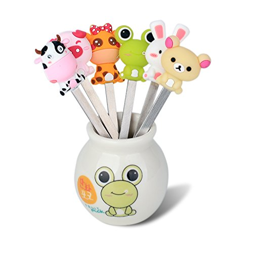 - Zeltauto 6 Pcs Stainless Steel Fruit Forks Cute Cartoon Animal Food Picks Salad Cake Dessert Forks, Comes with a Ceramic Holder (Mixed Animal)