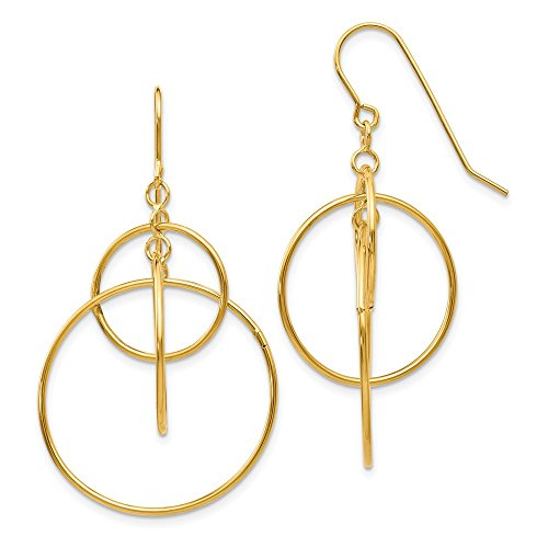 14k Yellow Gold Circles Drop Dangle Chandelier Earrings Fine Jewelry Gifts For Women For Her