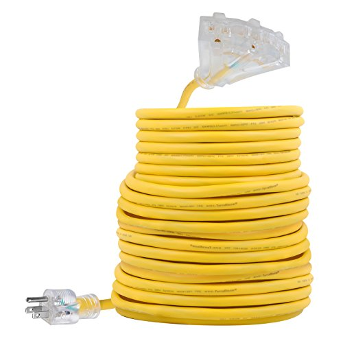 Outdoor Extension Cord - 100 FT 12/3 SJEOW Triple Outlet 3 Prong Grouded Yellow Wire Ultra Flexible TPE Rubber Jacket Lighted End UL Listed - Power Your Patio, Garden, Electronics (100ft 3 Outlet Extension Cord)