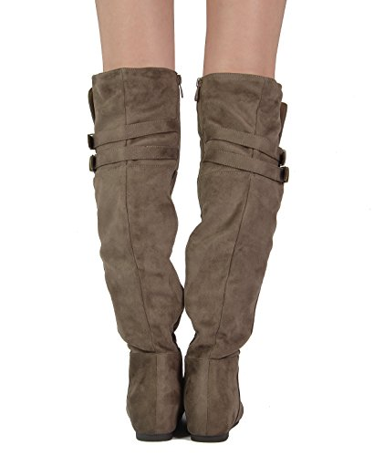 DREAM PAIRS Damenmode Casual Overknee Pull On Slouchy Boots Khaki-Wildleder