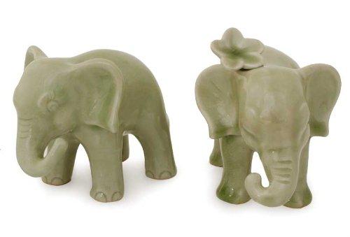 NOVICA Green Good Luck Celadon Ceramic Sculpture, 3.9