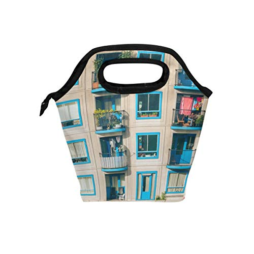 Lunch Tote Bag A Housing Estate Neoprene Insulated Cooler Warmer, Portable Funny Lunchbox Handbag for Men Women Adult Kids Boys Girls