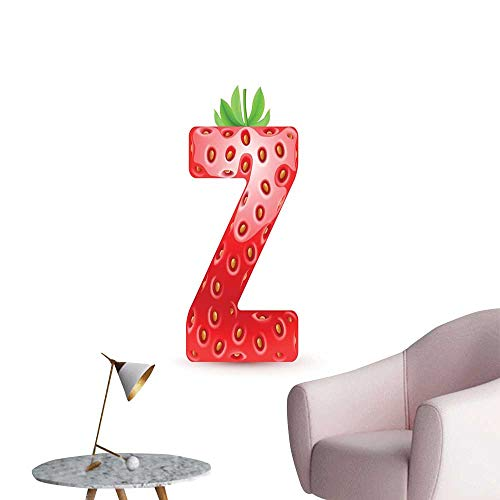 Alexandear Letter Z 3D Murals Stickers Wall Decals Gourmet Food Tasty Summer Fruits Inspired Alphabet Z Typescript Design Bedroom Wall Vermilion Green Orange W8 x H10 -