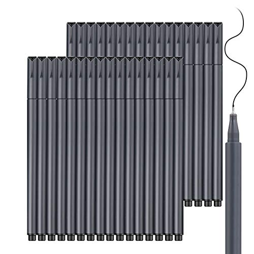 Journal Planner Pens, Taotree 24 Black Pens Fine Point Black Markers Fine Tip Drawing Pens Porous Fineliner Pen for Bullet Journaling Writing School Office Supplies, Perfect for Back to School Ideas