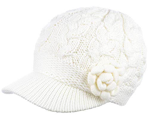 - Womens Winter Elegant Cable Flower Knitted Newsboy Cabbie Cap Beret Beanie Hat with Visor, Warm Plush Fleece Lined