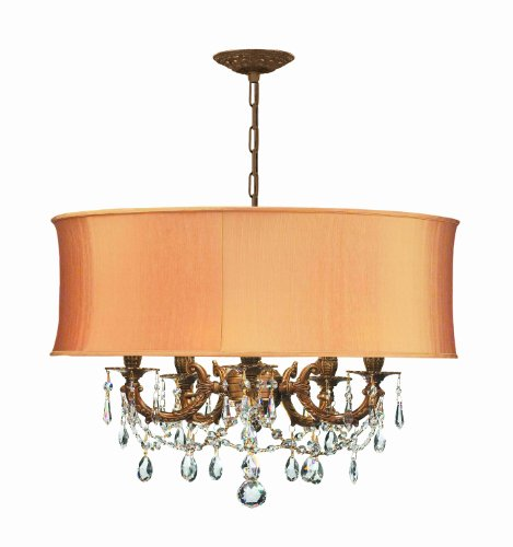 Crystorama 5535-AG-SHG-CLS Gramercy - Five Light Chandelier, Choose Finish: Aged Brass, Shade Options: Silk Harvest Gold (Crystorama Lamp Shades)
