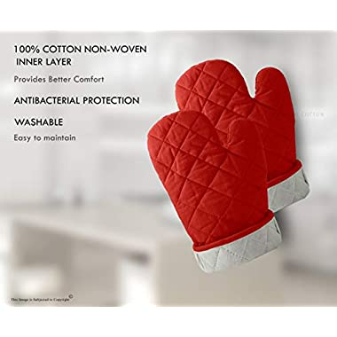 DM COOL COTTON - Oven Gloves Set (Red) (2 Oven Gloves) (Heat Proof) 10
