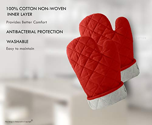 DM COOL COTTON - Oven Gloves Set (Red) (2 Oven Gloves) (Heat Proof) 5