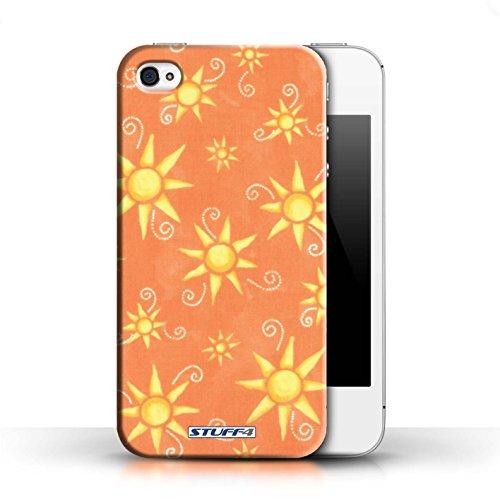 Etui pour Apple iPhone 4/4S / Orange/Jaune conception / Collection de Motif Soleil