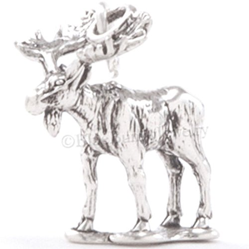 MOOSE Charm Pendant animal Antlers Canada Alaska 925 STERLING SILVER detailed 3D Jewelry Making Supply Pendant Bracelet DIY Crafting by Wholesale Charms