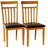 Set of 2 Dining Kitchen Side Chairs Warm Solid Wooden in Maple Finish Padded Seat