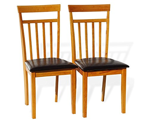 Rattan Wicker Furniture Set of 2 Dining Kitchen Side Chairs Warm Solid Wooden in Maple Finish Padded Seat