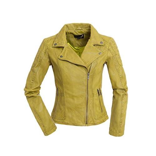 Coole Damen Lederjacke Biker Jacke Lika in GelbGrün aus