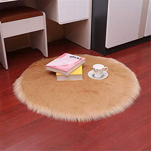 Dikoaina Classic Soft Faux Sheepskin Chair Cover Couch Stool Seat Shaggy Area Rugs for Bedroom Sofa Floor Fur Rug,Khaki, Round