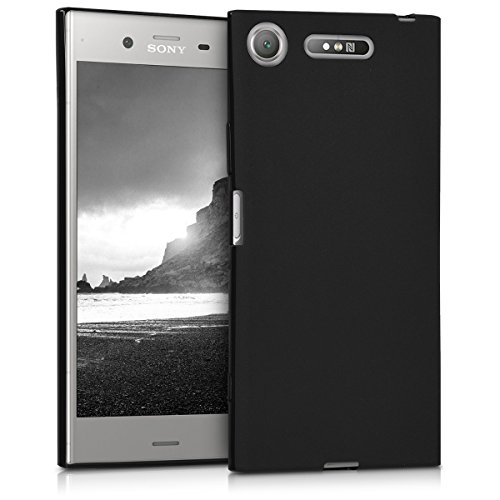 kwmobile TPU Silicone Case for Sony Xperia XZ1 - Soft Flexible Shock Absorbent Protective Phone Cover - Black Matte