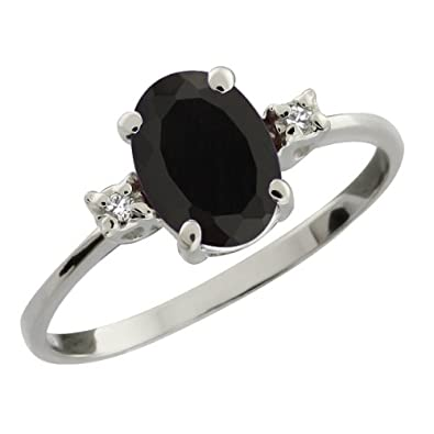 Gem Stone King 2.23 Ct Oval Black Onyx 925 Sterling Silver Ring