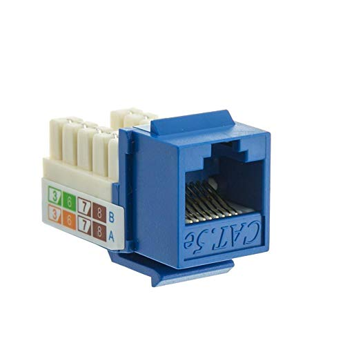 - GOWOS (100-Pack) Cat5e Keystone Jack, Blue, RJ45 Female to 110 Punch Down