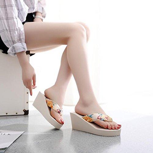 Antideslizante Zapatos Color Tamaño LL Palabra Tacón Sandalias alto Arena playa UK4 Persona Temporada 5 Beige grueso fondo 5 verano Arrastre Zapatos EU37 Con Bolsos Zapatos mujer de Zapatos Sandalias Beige CN37 de de tqwqS1F