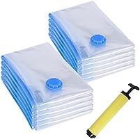 Songmics RVM101, 10 Bolsas al vacío Bomba incluida Almacenaje de ropa edredones mantas Ahorro de espacio, 60 x 80 cm