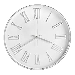 Vitaa-12 Inch Morden Decorative Silent &Non-Ticking Quartz Round Wall Clock And Battery Operated,For Living room/Kicken/Office/School,Large 3D Numerals (Silvery)