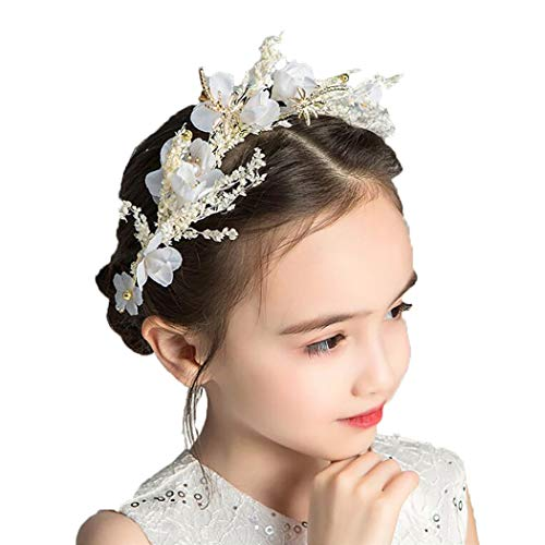 Campsis Floral Princess Wedding Headpiece Dried Flower Headband Dragonfly Tiara First Communion Hair Accessories for Women and Girls and Bridal Wedding Tiaras for Flower Girls and Bridesmaid -
