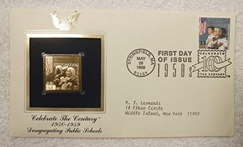 Desegregating Public Schools - Celebrate the Century (The 1950s) - FDC & 22kt Gold Replica Stamp plus Info Card - Postal Commemorative Society, 1999 - Brown vs. Board Of Education of Topeka, Kansas, Supreme Court, Equal Protection, Thurgood Marshall