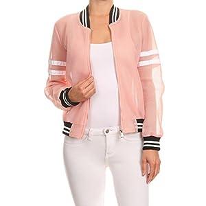 makeitmint Women's Cool Mesh Zip-Up Summer Bomber Jacket w/ Stripe Medium YJZ0019_Pink