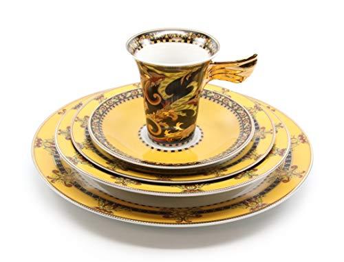 Porcelain Place Setting - Royalty Porcelain Vintage Yellow 5-pc Place Setting 'Gothic', Premium Bone China