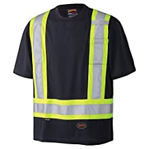Pioneer V1051170-L Birdseye Reflective Safety T-Shirt, Black, L