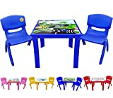 A406 Study Table and chair for Childrens Kids Plastic Nursery Sets Outdoor Pink Blue Red Yellow Green (Blue)