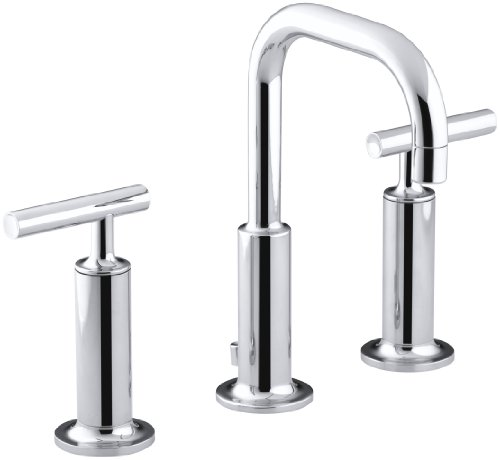 (KOHLER K-14407-4-CP Purist Widespread Lavatory Faucet with Low Gooseneck and High Lever Handles, Polished)
