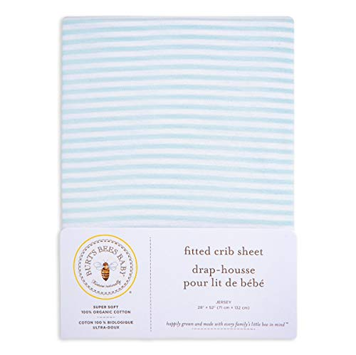 Burt's Bees Baby - Fitted Crib Sheet, Boys & Unisex 100% Organic Cotton Crib Sheet For Standard Crib and Toddler Mattresses (Sky Blue Thin Stripes) Classic Stripe