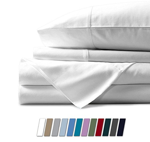 Mayfair Linen 100% Egyptian Cotton Sheets, White Twin Sheets Set, 600 Thread Count Long Staple Cotton, Sateen Weave for Soft and Silky Feel, Fits Mattress Upto 18'' DEEP Pocket
