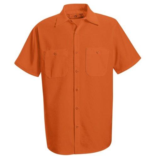 Enhanced Visibility Work Shirt - Red Kap Men's Enhanced Visibility Work Shirt, Fluorescent Orange, Short Sleeve X-Large